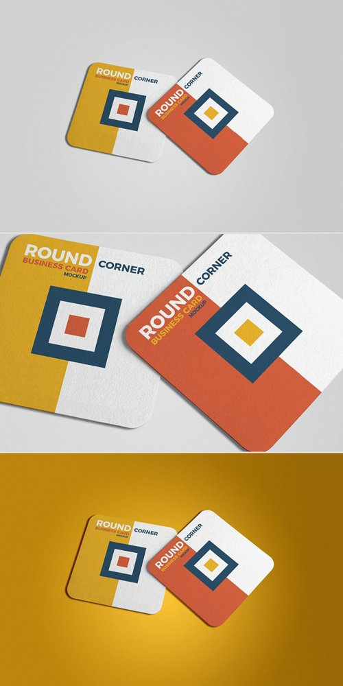 Square Round Corner Business Card PSD Mockups 2018