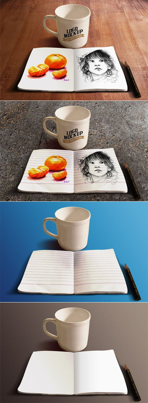 Sketchbook & Coffee Cup PSD Mockups