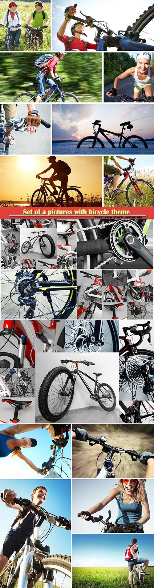 Set of a pictures with bicycle theme, bicycle, wheel, handlebar, saddle, gear, chain