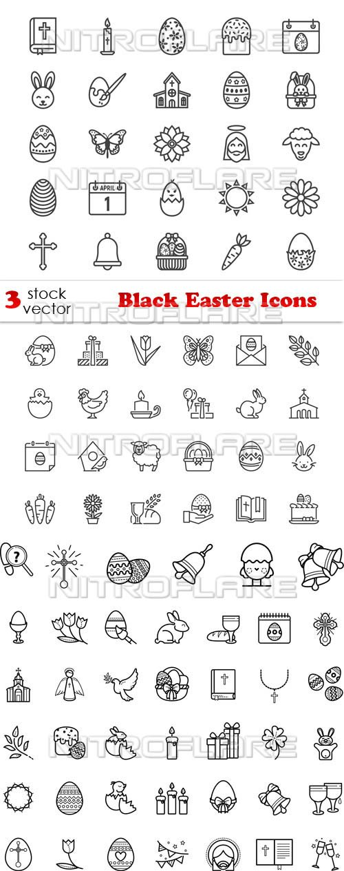 Vectors - Black Easter Icons