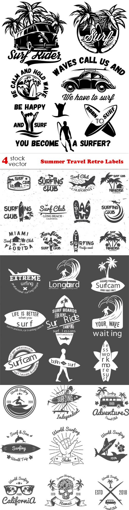 Vectors - Summer Travel Retro Labels