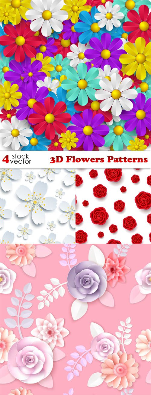 Vectors - 3D Flowers Patterns