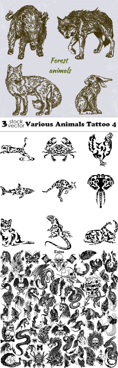 Vectors - Various Animals Tattoo 4