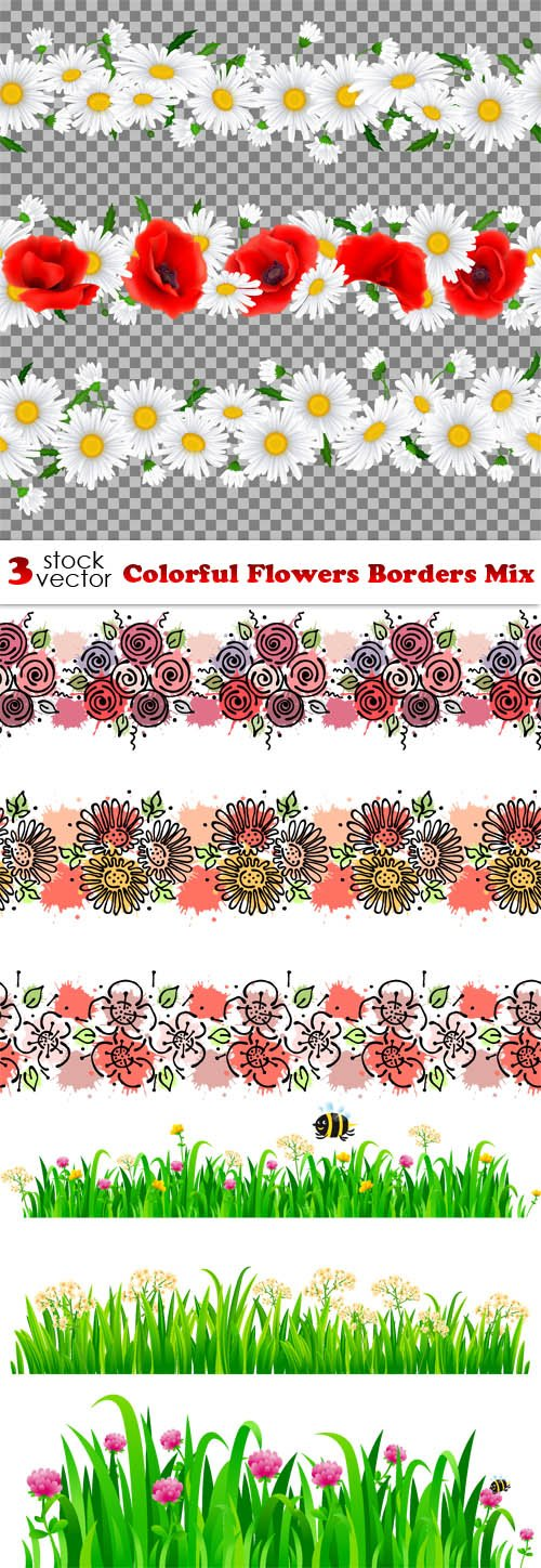 Vectors - Colorful Flowers Borders Mix