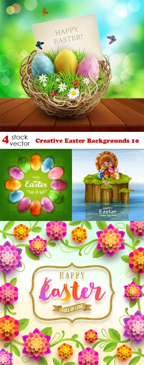 Vectors - Creative Easter Backgrounds 10