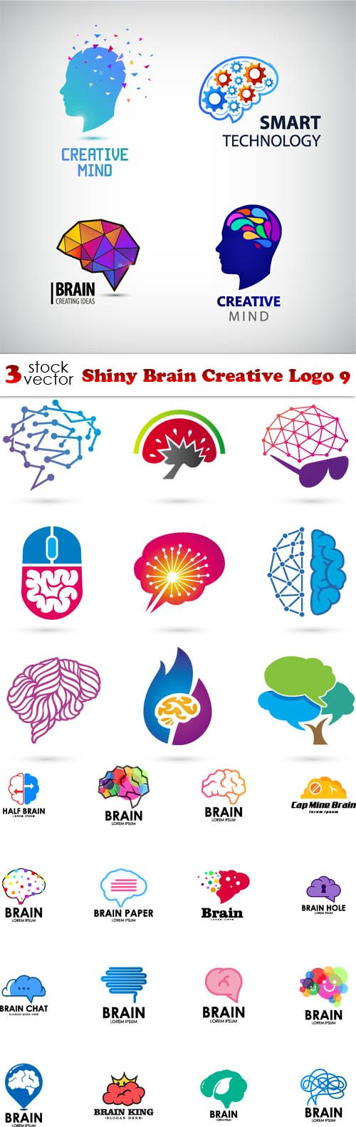 Vectors - Shiny Brain Creative Logo 9