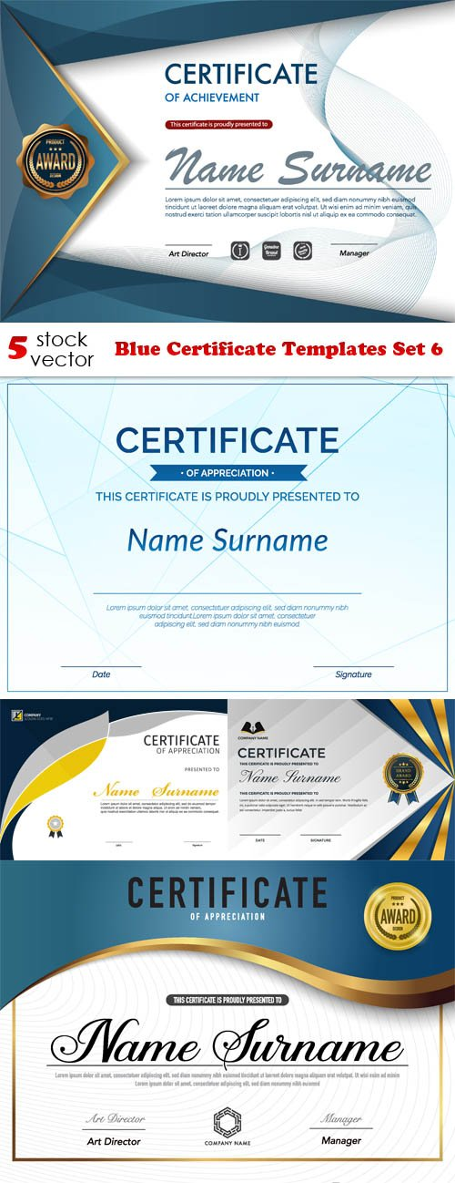 Vectors - Blue Certificate Templates Set 6
