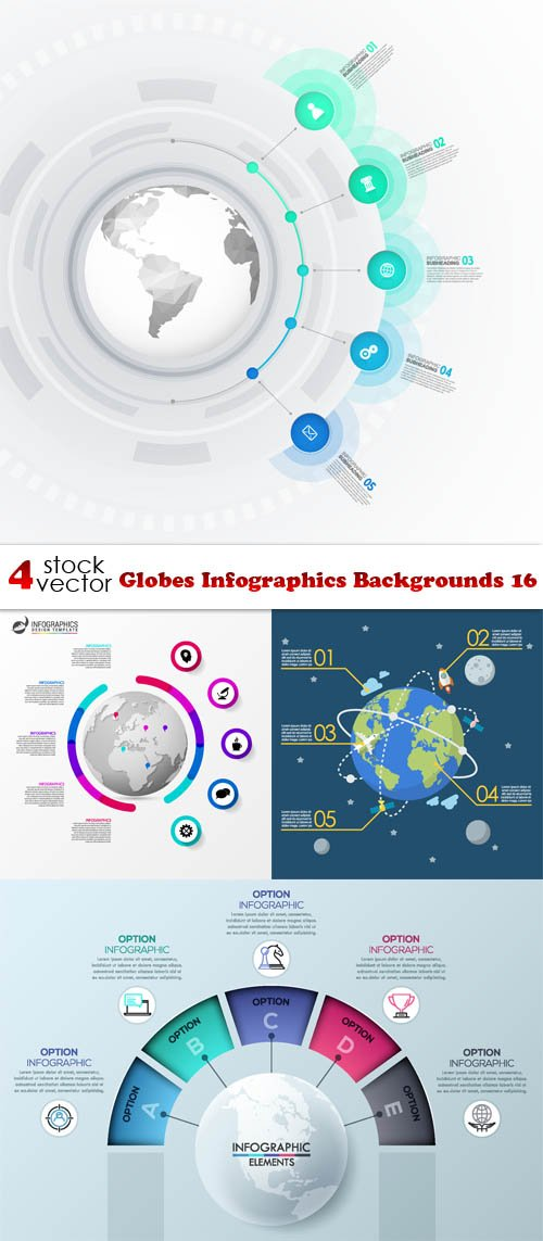 Vectors - Globes Infographics Backgrounds 16