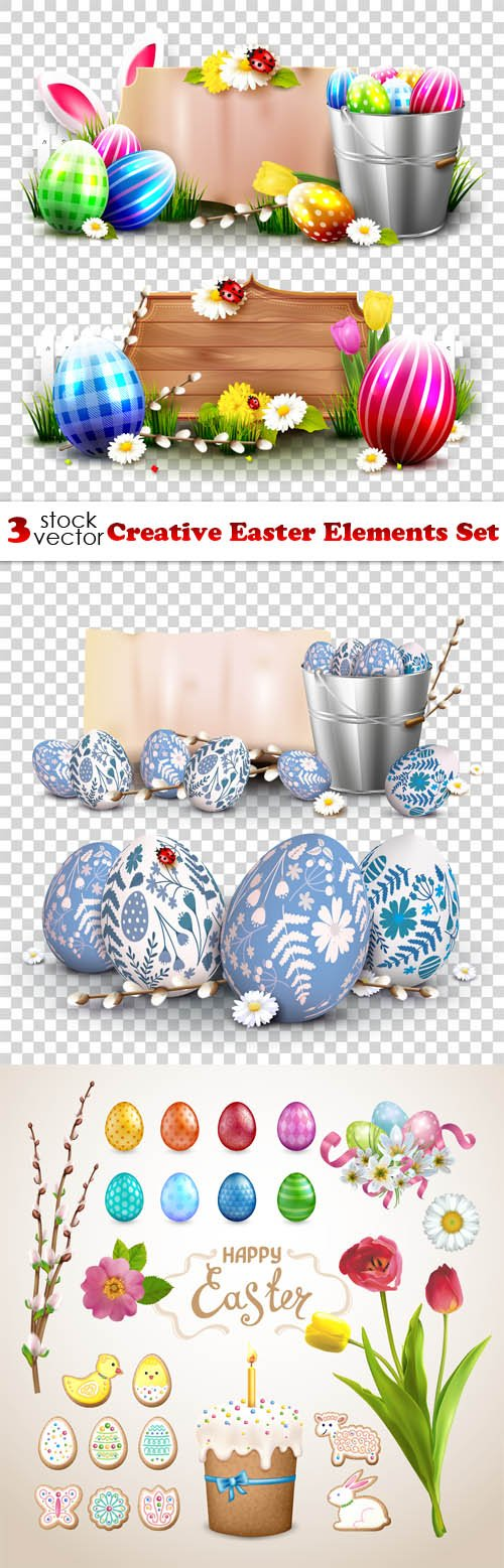 Vectors - Creative Easter Elements Set