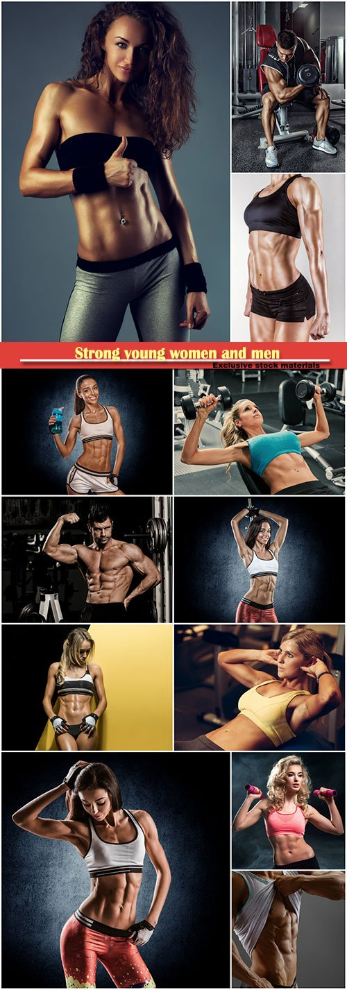 Strong young women and men exercising with dumbbells in gym