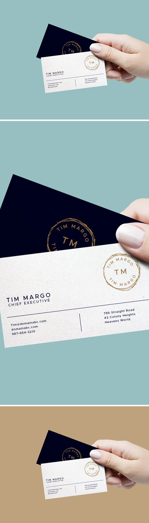 Hand Holding Business Cards PSD Mockup