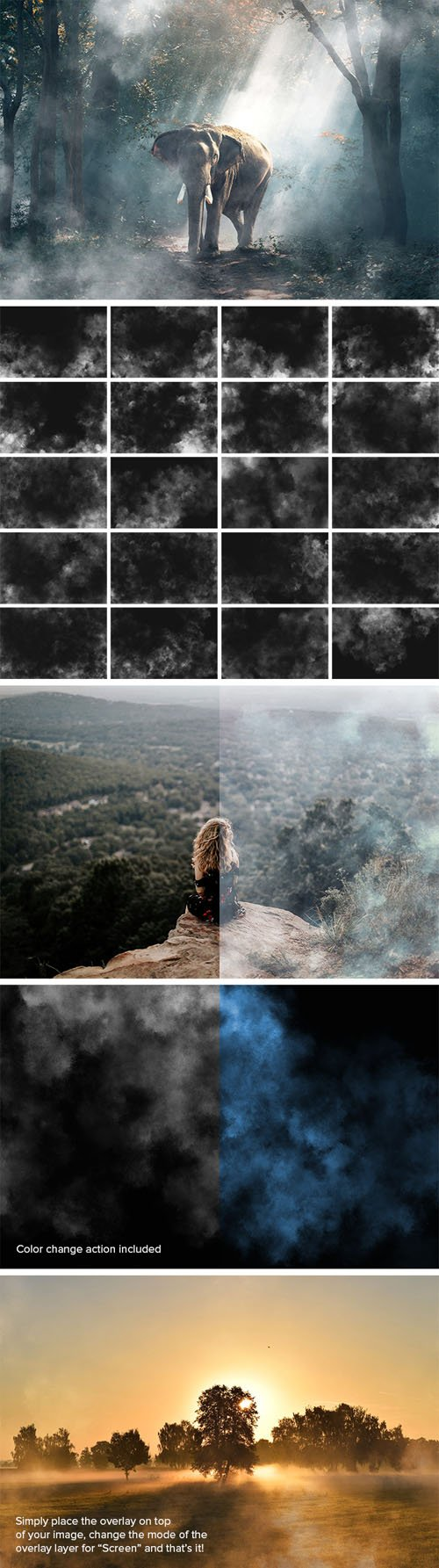 20 Mysterious Fog Overlays & Photoshop Actions