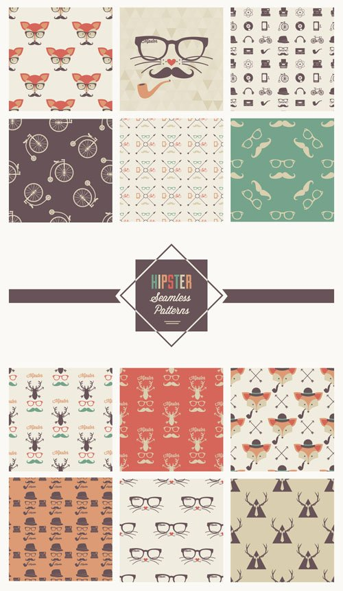 12 Hipster Seamless Patterns [AI/EPS/PAT]