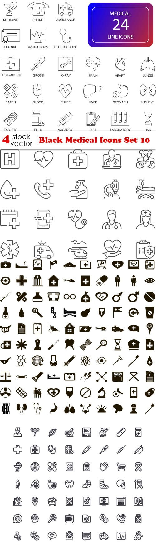 Vectors - Black Medical Icons Set 10