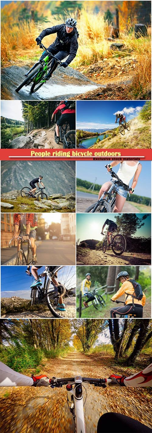 People riding bicycle outdoors