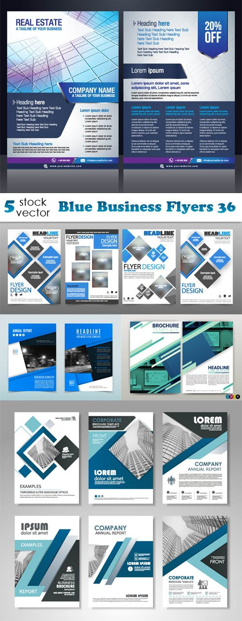 Vectors - Blue Business Flyers 36