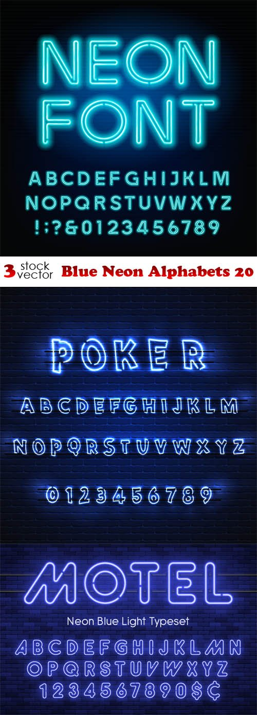 Vectors - Blue Neon Alphabets 20