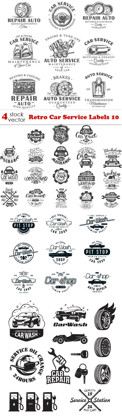 Vectors - Retro Car Service Labels 10