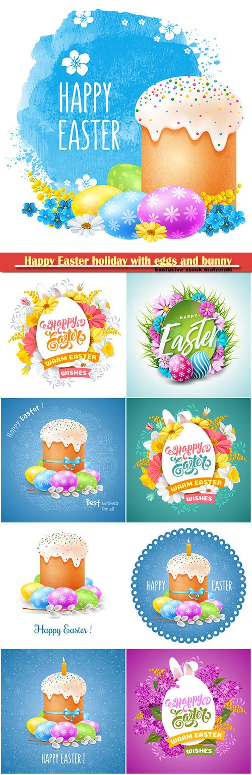 Happy Easter holiday with eggs and bunny, vector illustration # 10