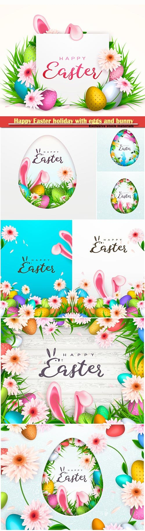 Happy Easter holiday with eggs and bunny, vector illustration # 5