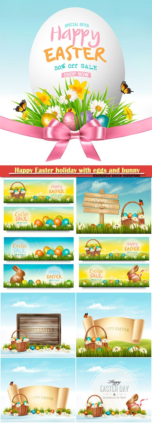 Happy Easter holiday with eggs and bunny, vector illustration # 14
