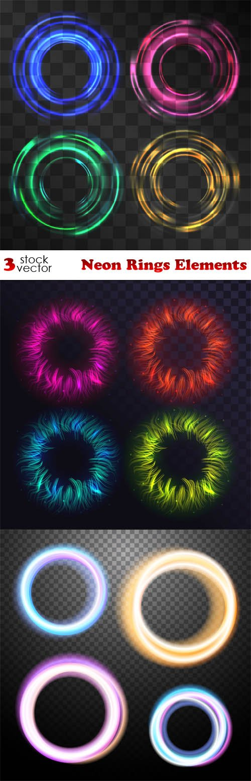 Vectors - Neon Rings Elements