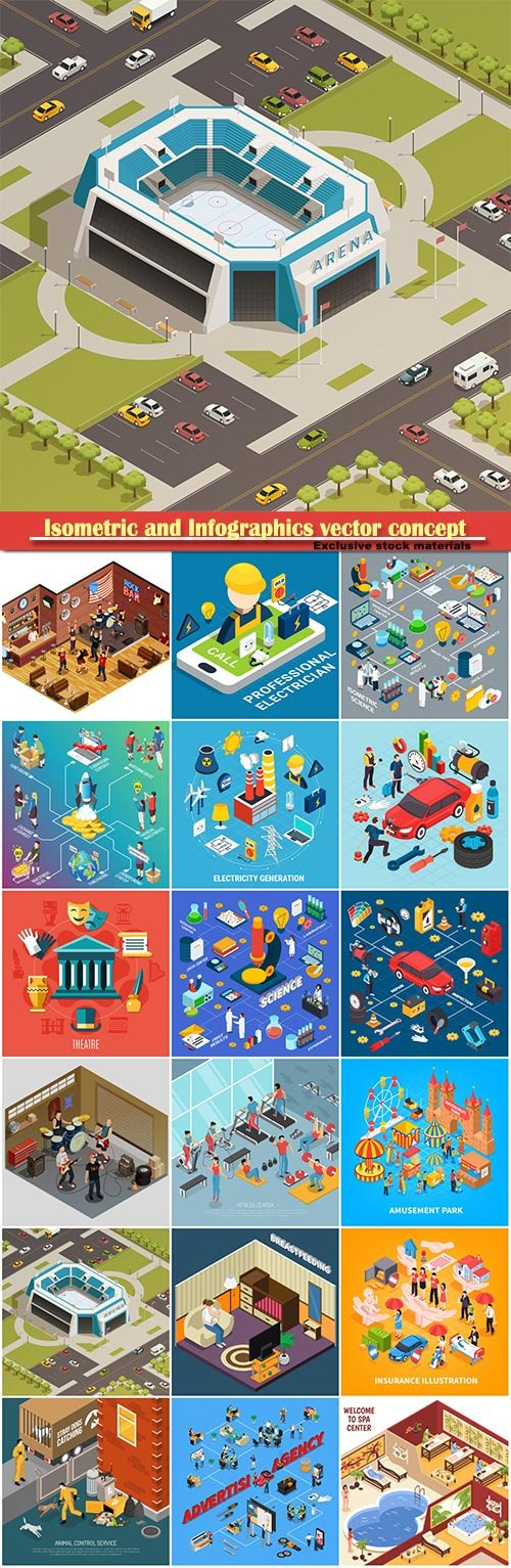 Isometric and Infographics vector concept, icon set on business style # 6