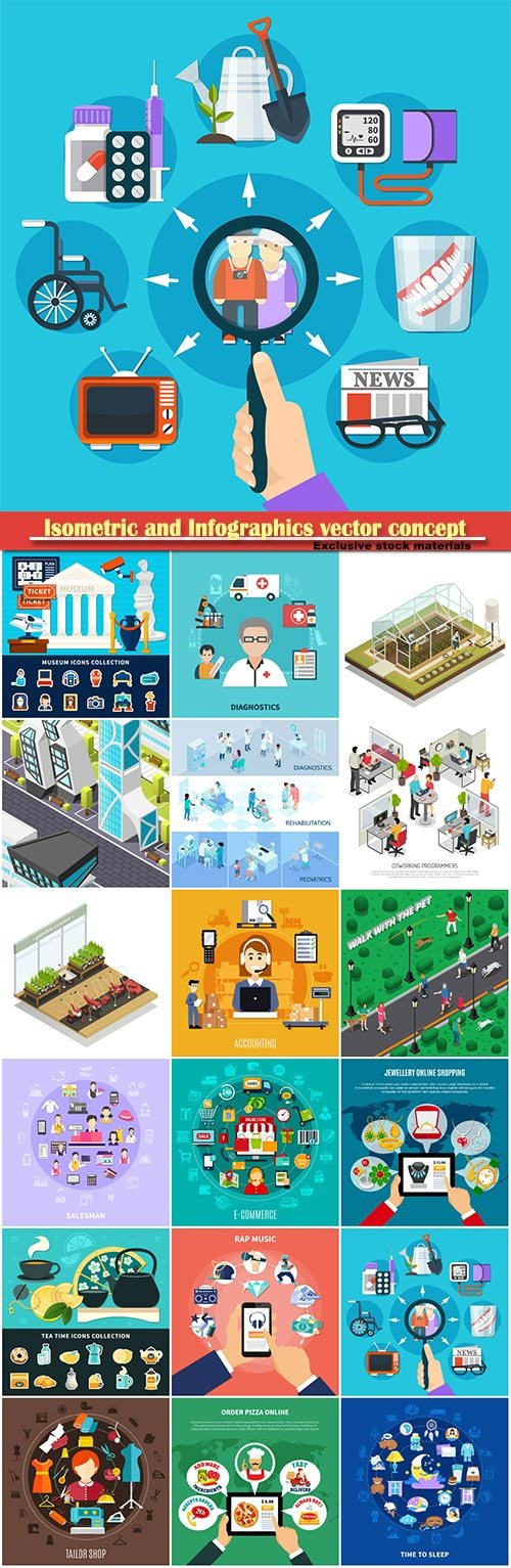 Isometric and Infographics vector concept, icon set on business style # 4