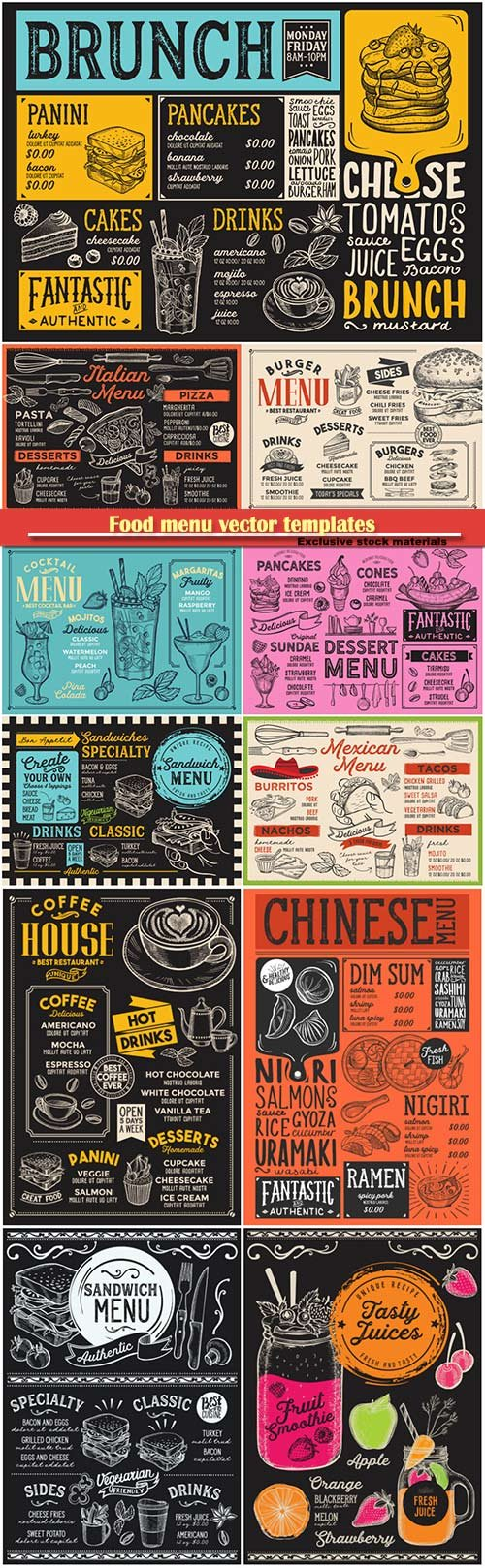 Food menu vector templates, sandwich burger, japanese sushi, dessert, cocktail alcohol