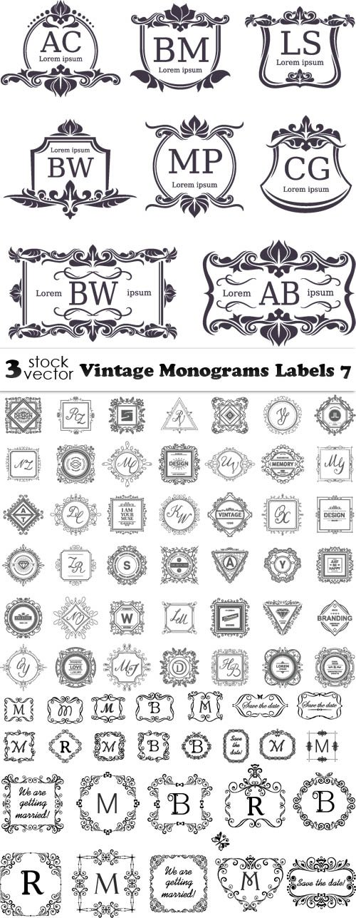 Vectors - Vintage Monograms Labels 7