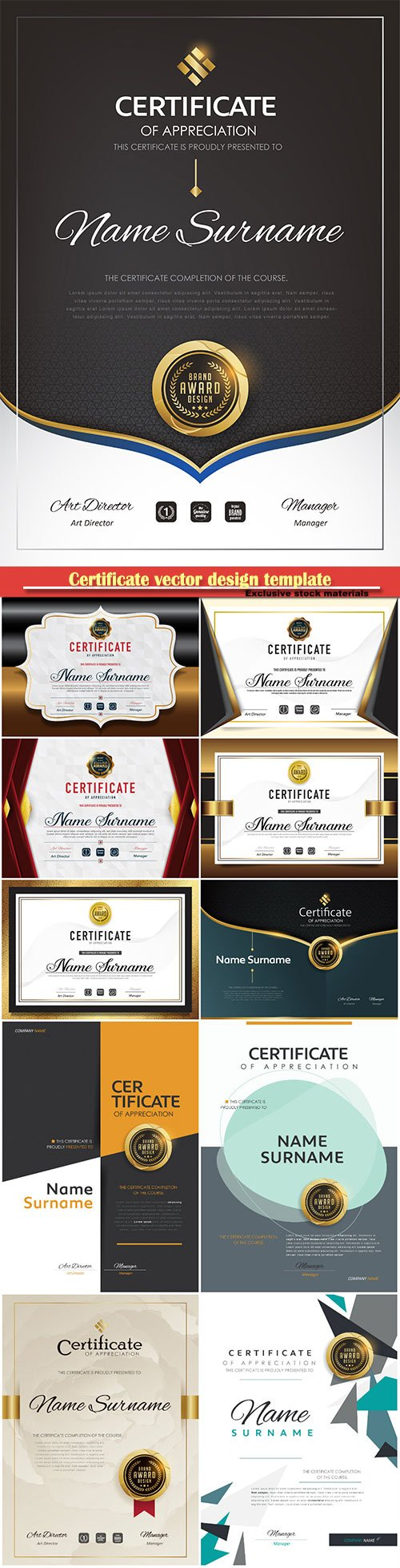 Certificate and vector diploma design template # 57