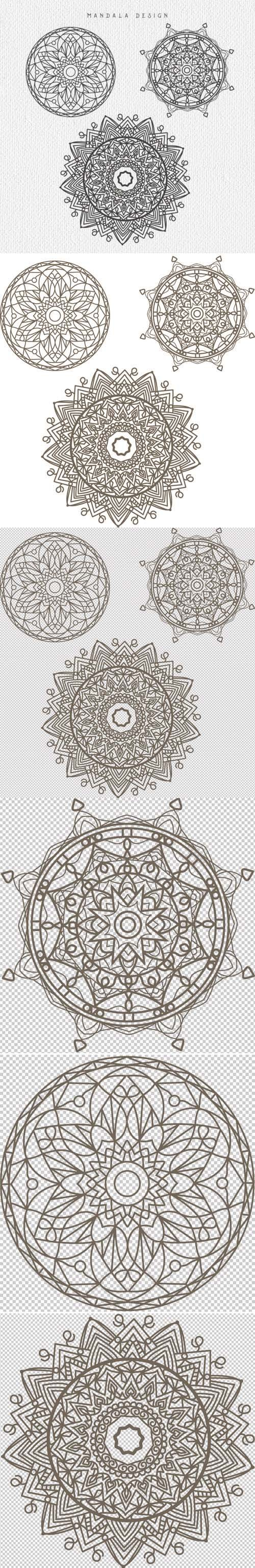 3 Mandala Designs in Vector