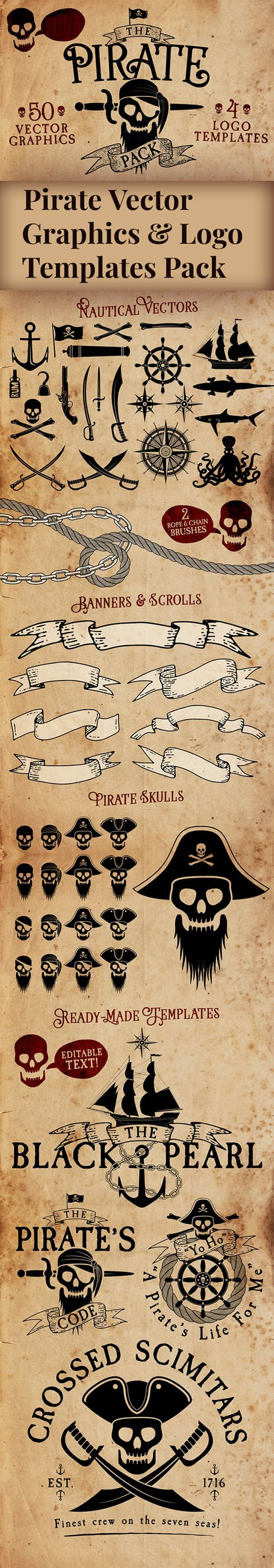 Pirate Vector Graphics & Logo Vector Templates Pack [Ai/EPS]