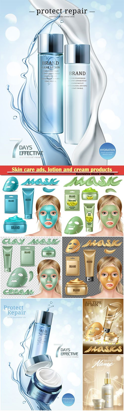 Skin care vector ads, lotion and cream products in package and cream in 3d illustration