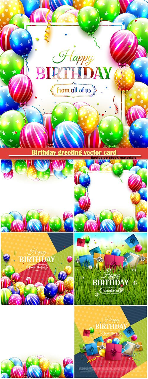 Birthday greeting vector card