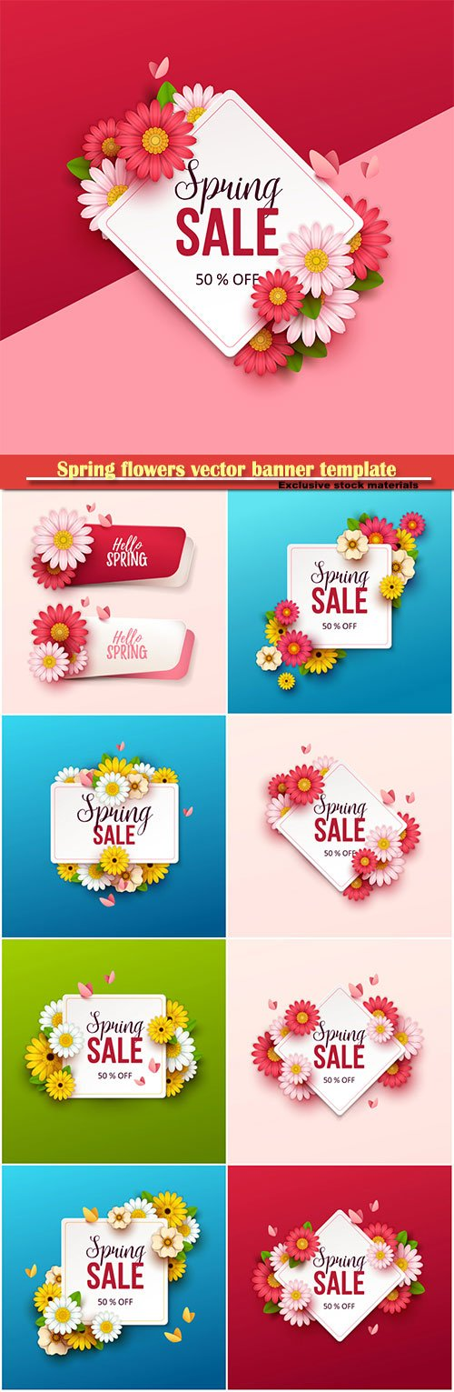 Spring flowers vector banner template