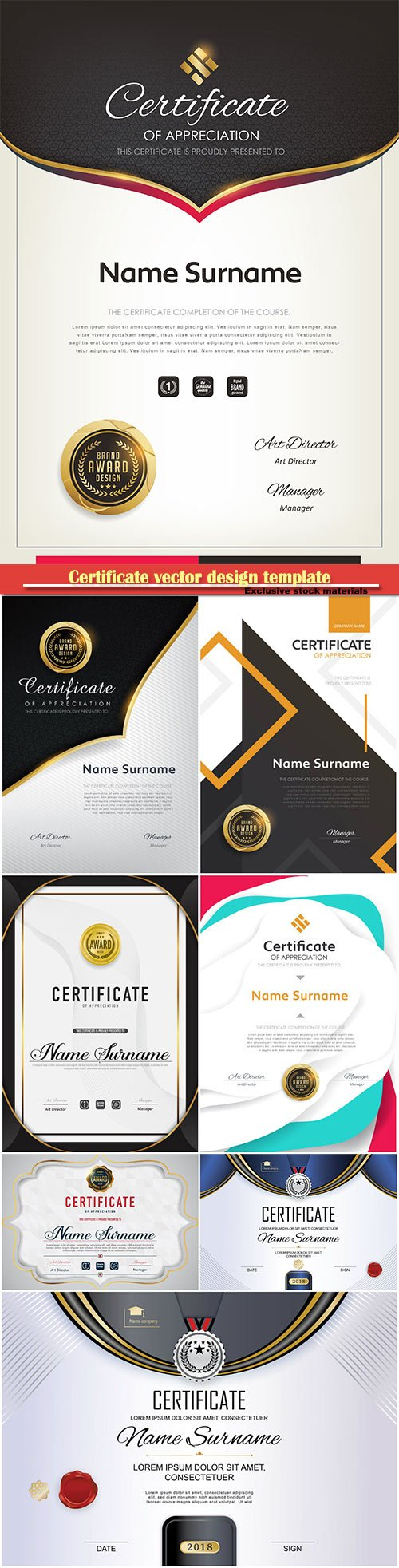 Certificate and vector diploma design template # 58