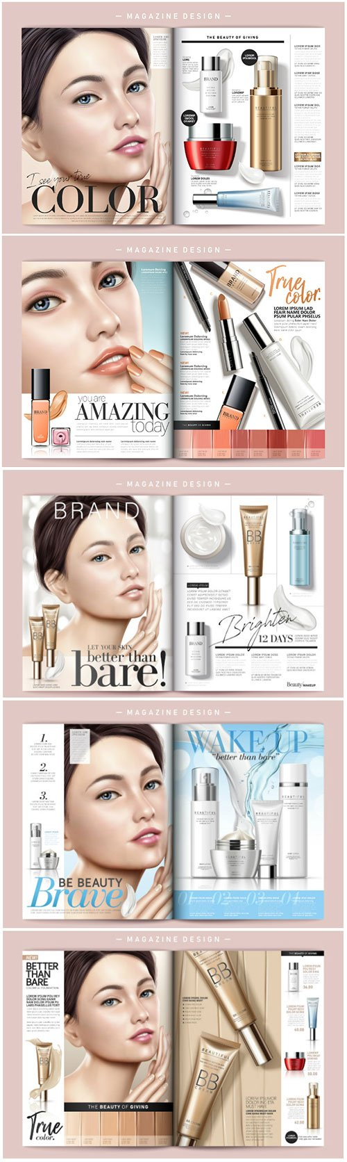 Cosmetic magazine vector template, attractive model with product containers in 3d illustration # 2