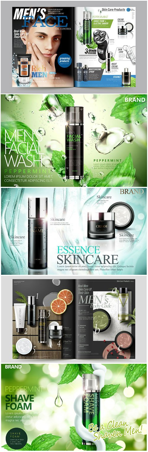 Cosmetic magazine vector template, attractive model with product containers in 3d illustration # 3