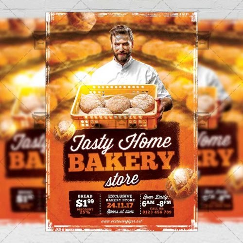 Food A5 Flyer/Poster Template - Tasty Home Bakery
