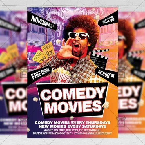 Community A5 Flyer/Poster Template - Comedy Movies