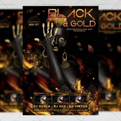 Club A5 Flyer Template - Black and Gold Night