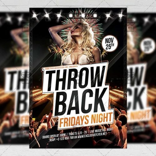 Club A5 Flyer Template - Throwback Fridays