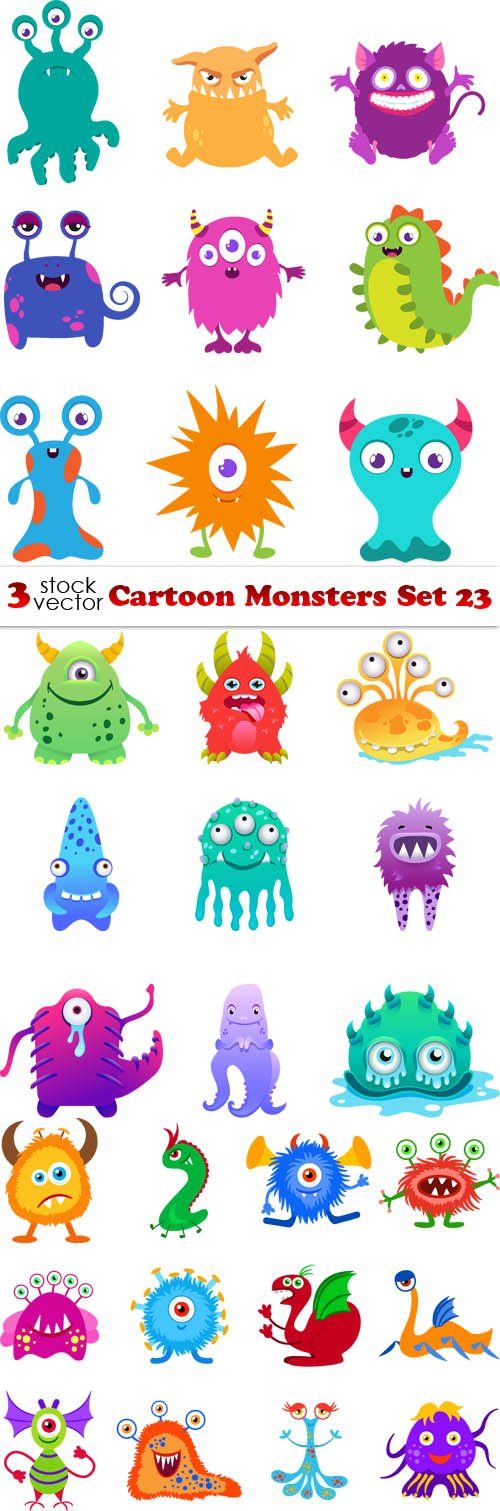 Vectors - Cartoon Monsters Set 23