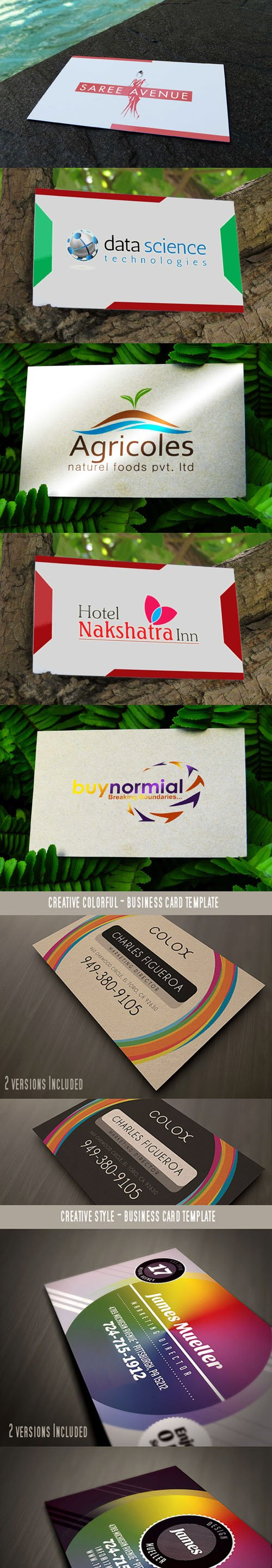 9 Colorful Business Card PSD Mockups Templates