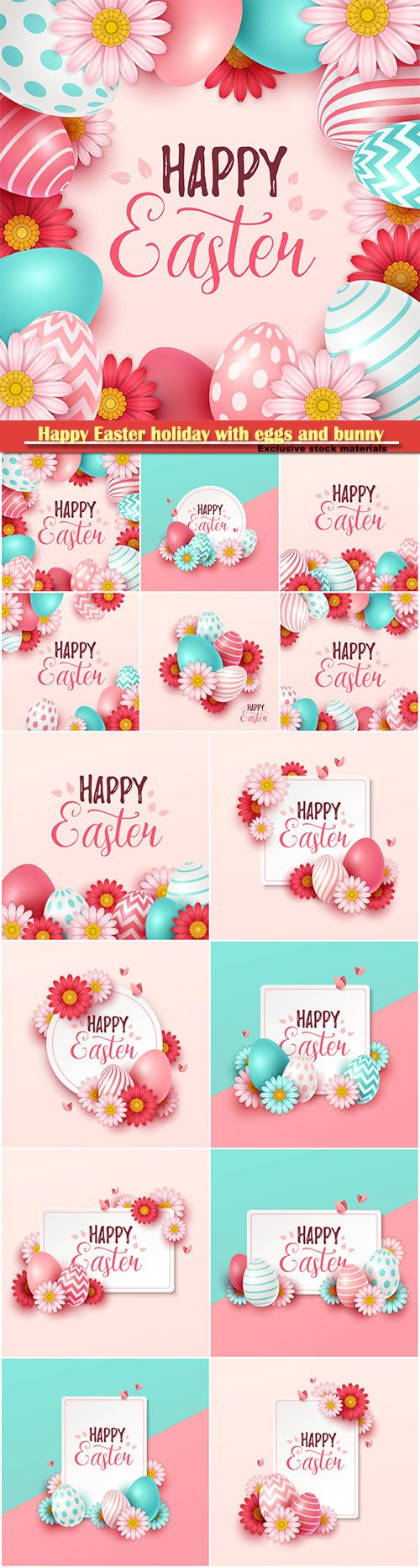 Happy Easter holiday with eggs and bunny, vector illustration # 15