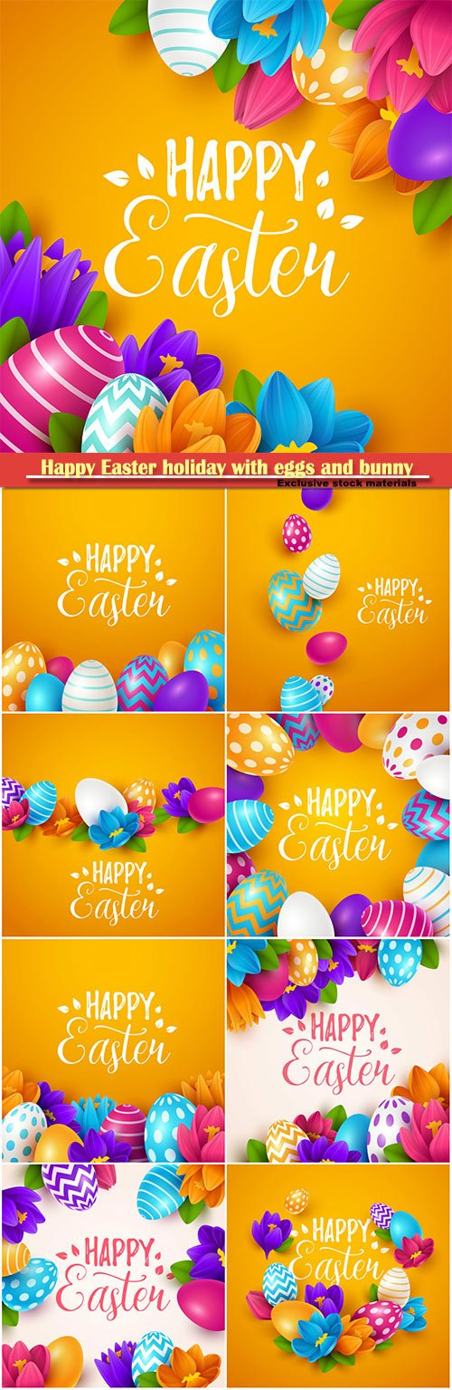 Happy Easter holiday with eggs and bunny, vector illustration # 16