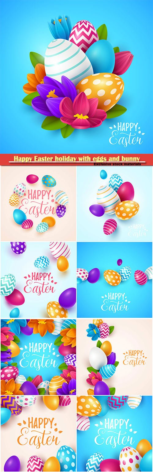 Happy Easter holiday with eggs and bunny, vector illustration # 17