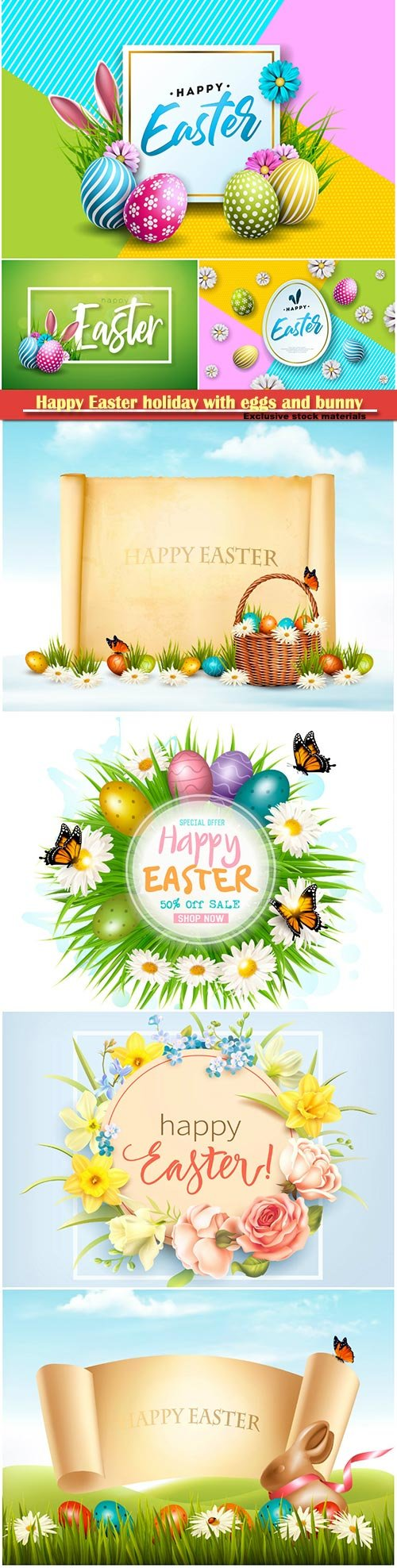 Happy Easter holiday with eggs and bunny, vector illustration # 20