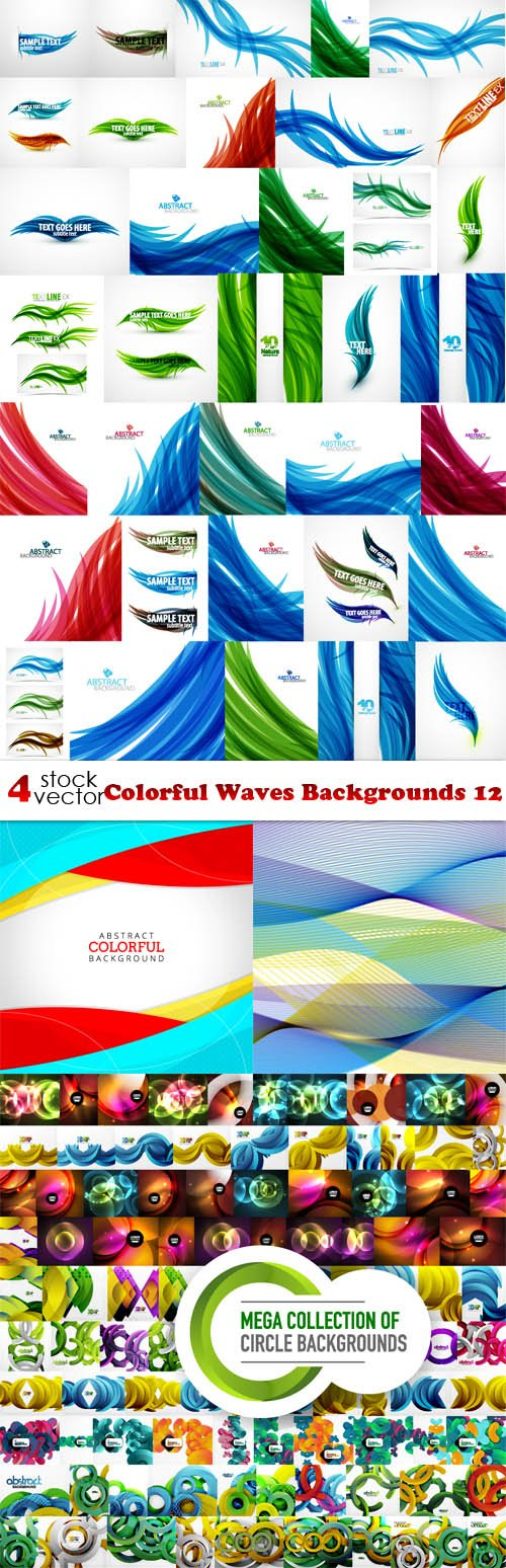 Vectors - Colorful Waves Backgrounds 12